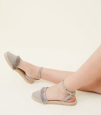 Teens Grey Fringed Two Part Espadrilles
