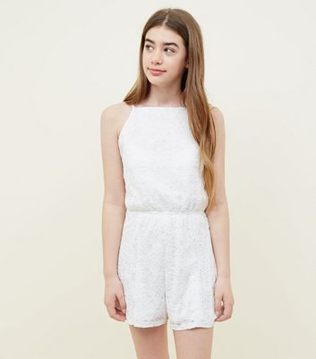 Teens White Lace Playsuit
