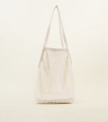Cream Oversized Net Tote Bag