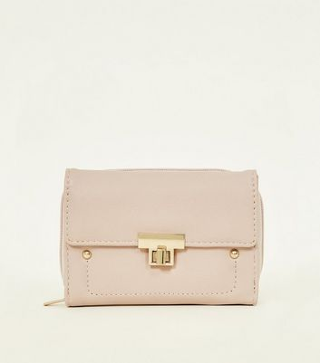 Nude Leather-Look Twist Lock Small Purse
