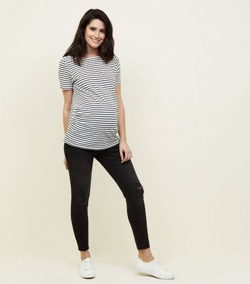 Maternity Black Rinse Wash Over Bump Skinny Jeans