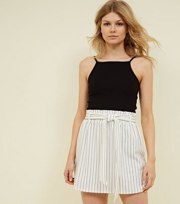 Petite White Stripe Paperbag Waist Mini Skirt