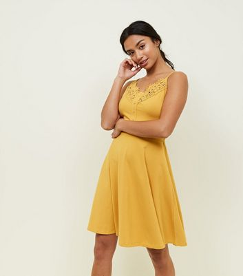 Petite Mustard Crochet Trim Skater Dress