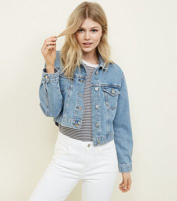 Petite Pale Blue Cropped Denim Jacket