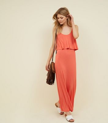 Petite Coral Layered Jersey Maxi Dress