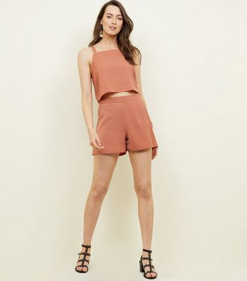 Rust Linen-Look Square Neck Crop Top