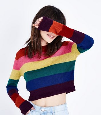 Rainbow Stripe Cropped Jumper