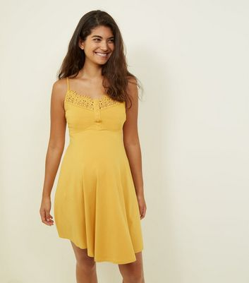Maternity Mustard Crochet Trim Skater Dress
