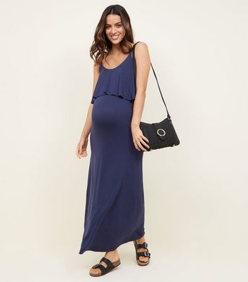 Maternity Navy Layered Jersey Maxi Dress