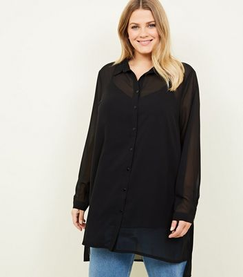 Curves Black Longline Chiffon Shirt by New Look