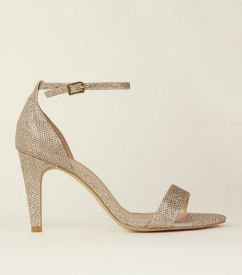 Wide Fit Silver Glitter Pointed Wedding Courts; Wide Fit Gold Glitter Two  Part Heeled Sandals