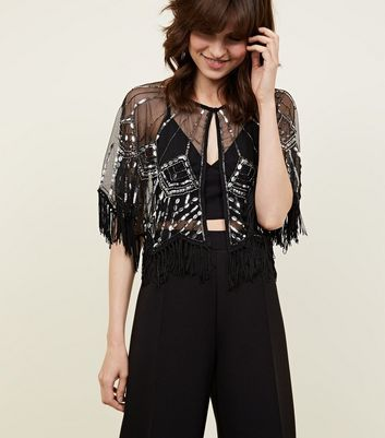 Black Sequin Embellished Tassel Cape