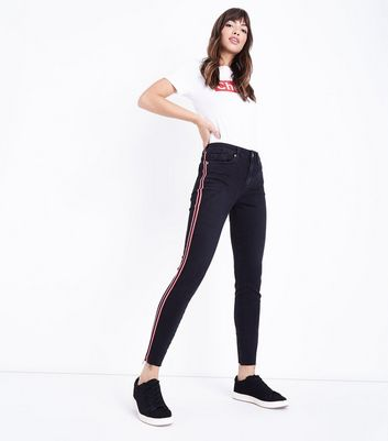 Black Side Stripe Raw Hem Skinny Jenna Jeans