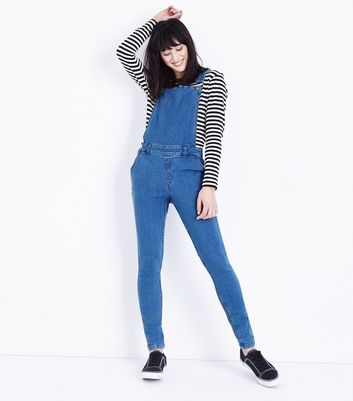 Noisy May Bright Blue Denim Dungarees