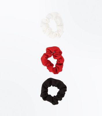 3 Pack Multicoloured Ribbed Scrunchie