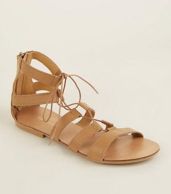 Camel Leather Ghillie Gladiator Flat Sandals