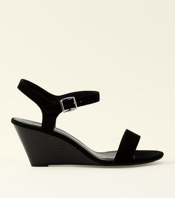 Wide Fit Black Suedette Two Part Wedges