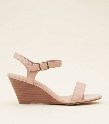 Wide Fit Nude Patent Two Part Wedges