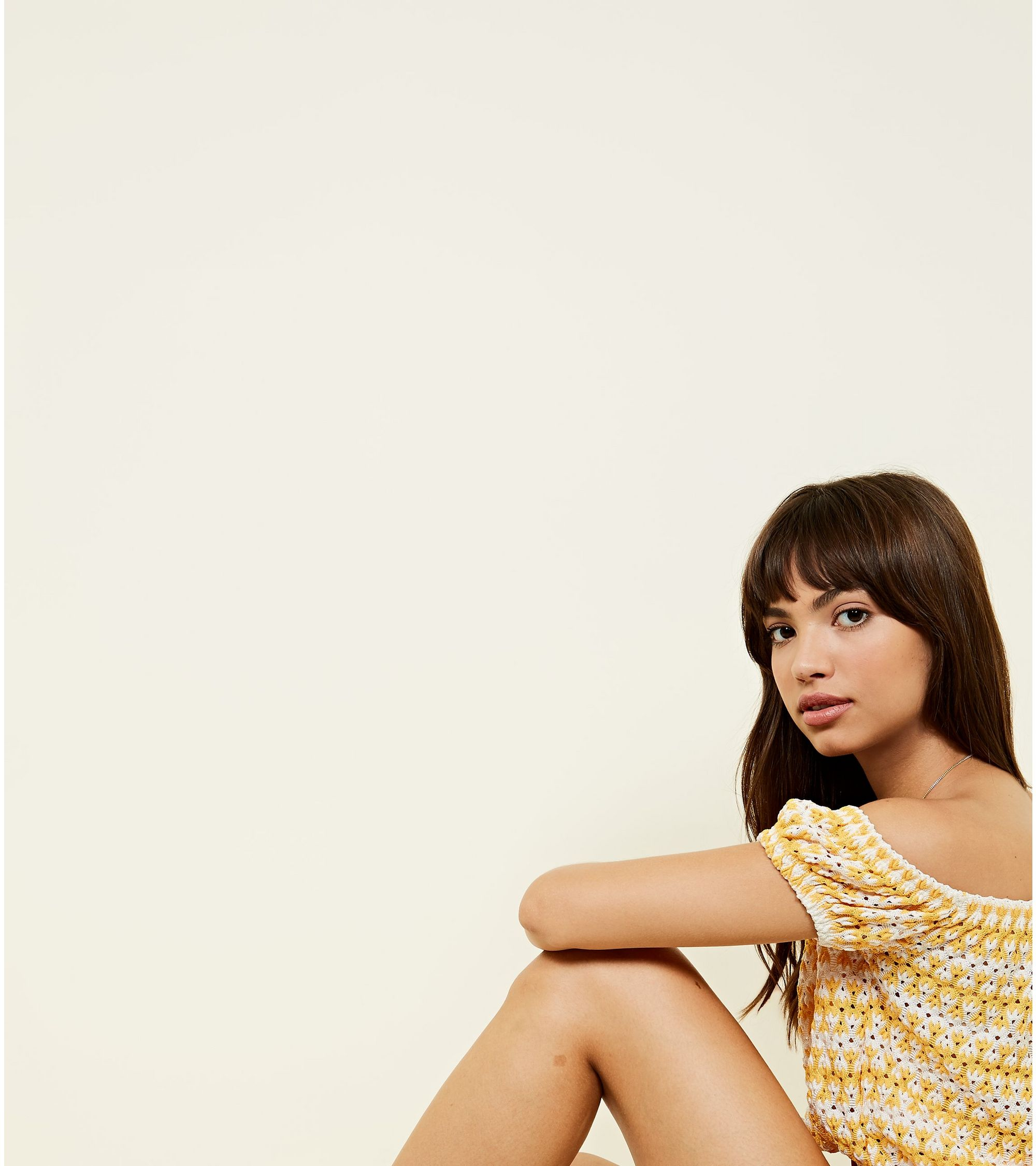 56a7731e226d4e New Look Yellow Stripe Pointelle Bardot Crop Top at £5