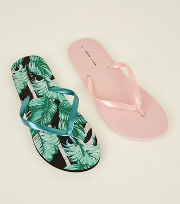 2 Pack Pink and Green Tropical Flip Flops