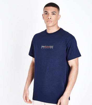 Navy Oakland Central Embroidered T Shirt by New Look