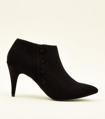 Black Suedette Button Side Shoe Boots