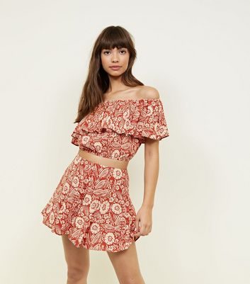 Rust Floral Wide Leg Shorts
