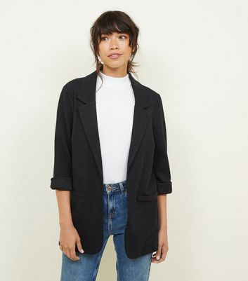 Black Cross Hatch Stretch Blazer by New Look