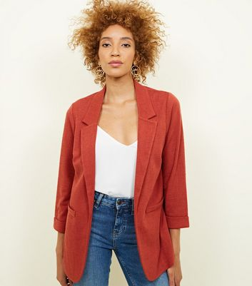 Dark Rust Cross Hatch Stretch Blazer