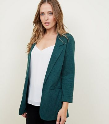 Dark Green Cross Hatch Stretch Blazer