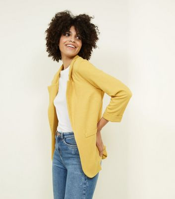 Mustard Cross Hatch Stretch Blazer