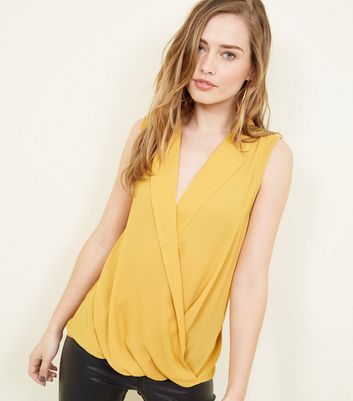 Yellow Wrap Front Sleeveless Top