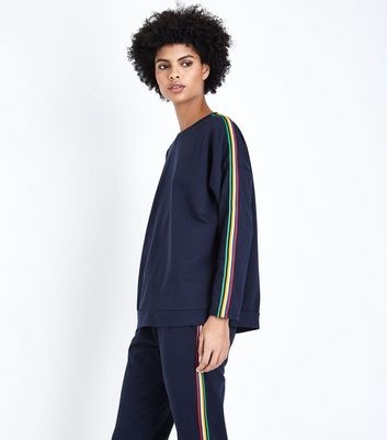 QED Navy Rainbow Side Stripe Sweatshirt