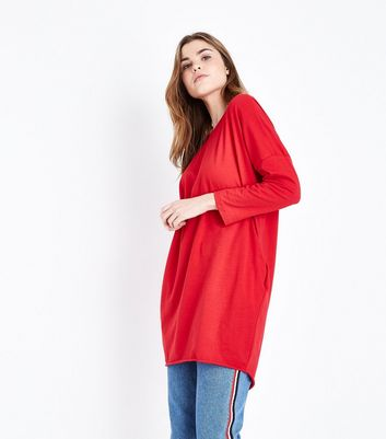 QED Red Long Sleeve Tunic Top
