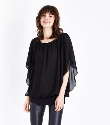 QED Black Angel Sleeve Top