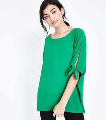 QED Green Tie Sleeve Oversized Top