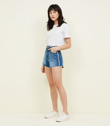 ... Blue and White Side Stripe Denim Mom Shorts