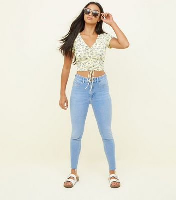 Petite Bright Blue 26in High Waist Super Skinny Jeans