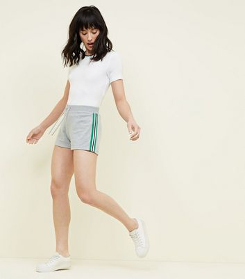 Grey Marl Side Stripe Jersey Shorts