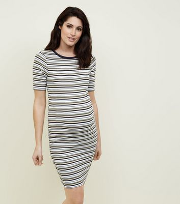 Maternity Black Stripe Ribbed Bodycon Dress