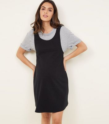 Maternity Black Cross Hatch Pinafore Dress