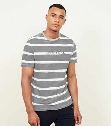 Grey Stripe New York Embroidered T-Shirt