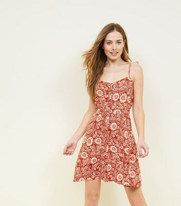 Red Floral Print Button Through Sundress