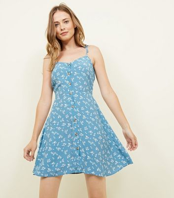 Pale Blue Ditsy Floral Button Front Sundress by New Look