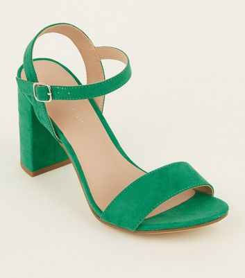 Green Suedette Two-Part Heeled Sandals