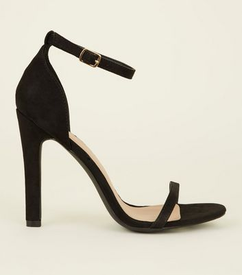 Black Suedette Two Part Barely There Sandals