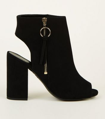 Black Suedette Ring Zip Peep Toe Block Heels