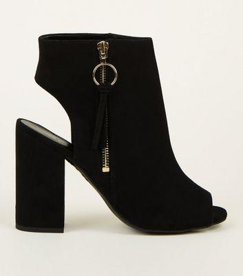 Black Suedette Ring Zip Peep Toe Block Heels by New Look