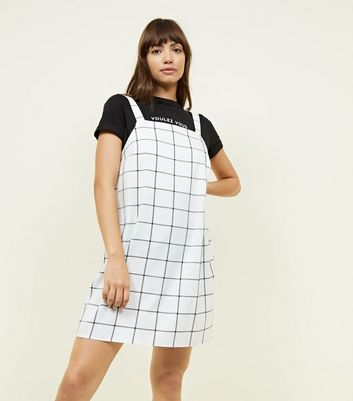 Off White Grid Check Pinafore Dress