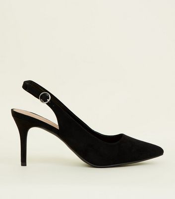 Black Suedette Pointed Slingbacks